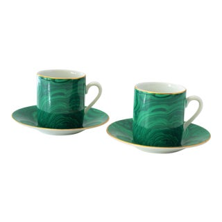 Neiman Marcus Malachite Demitasse Cup & Saucers - A Pair