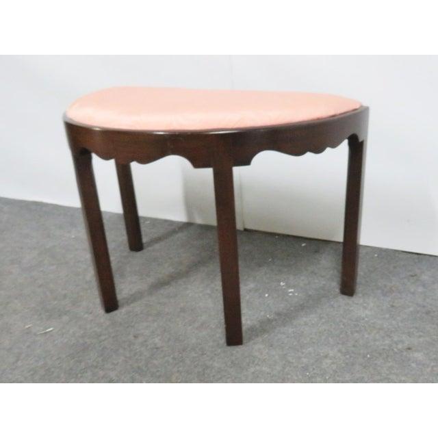 Madison square chippendale solid mahogany vanity bench, half moon shaped, scalloped skirt bench. Marlboro style legs