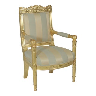 19th Century Hollywood Regency Gold Gilt Armchair For Sale