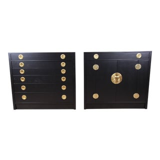 Edward Wormley for Dunbar Ebonized Janus Collection Chests, Pair For Sale