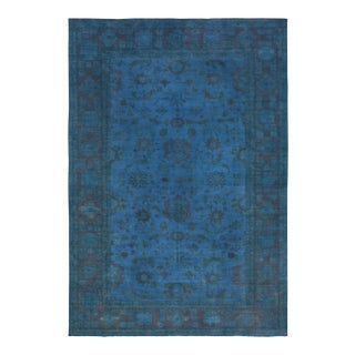 "Over Dyed Color Reform Rose Blue Wool Rug - 11'11"" x 17'2"" For Sale"