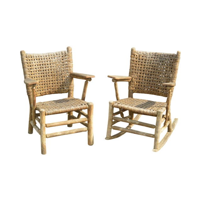 Old Hickory Antique Rustic Armchair & Rocker For Sale