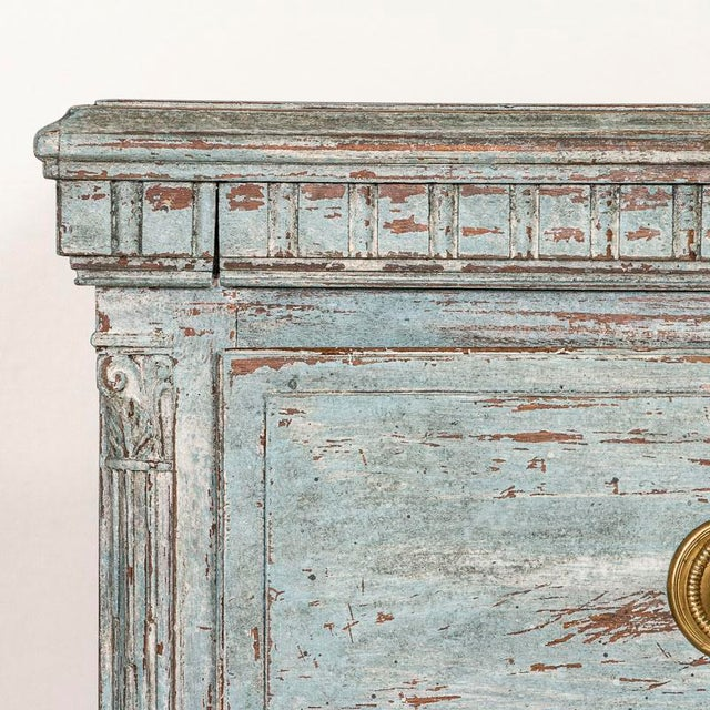Wood Large Antique Blue Painted Chest of Drawers From Sweden For Sale - Image 7 of 13