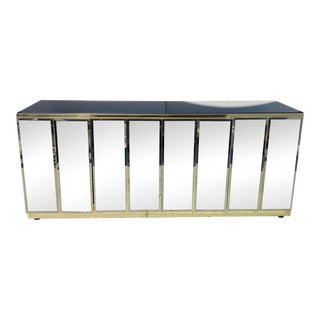 Mirrored and Brass Finish Metal Cabinet For Sale