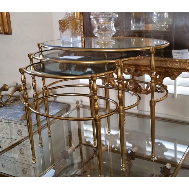 Mid Century Brass Oval Nesting Tables For Sale In New Orleans - Image 6 of 7