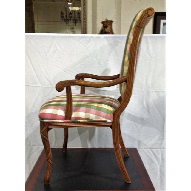 French Modern French Style Arm Chair Multi Plaid Fabric - A Pair For Sale - Image 3 of 8