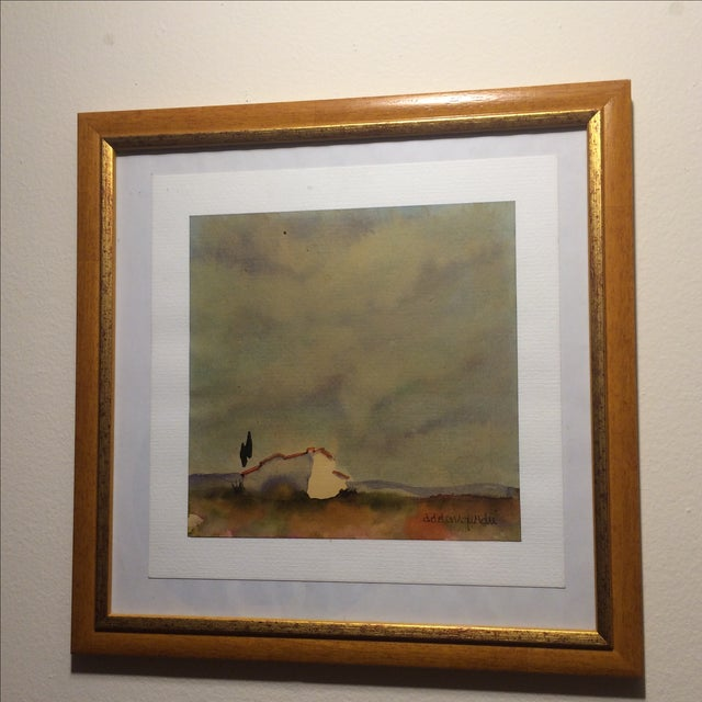 Tuscan Landscape Framed Watercolor - Image 2 of 4