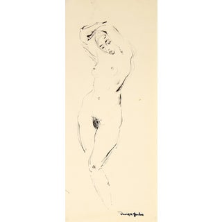 Contrapposto Female Nude in Ink 1948 For Sale