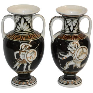 Pair of Neoclassical Vases With Greek Key Details For Sale