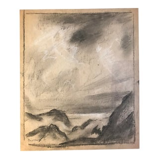 1930s Vintage Eliot Clark Coastal Landscape Chalk Drawing