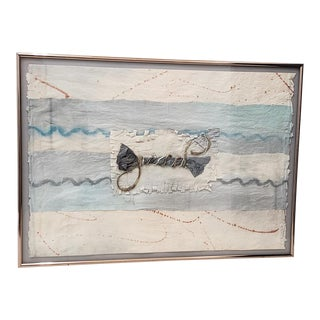 Vintage Mixed Media Watercolor & Fiber Painting C.1980s For Sale