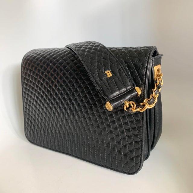 Vintage Bally Handbag Quilted Black Lamb Skin Leather For Sale - Image 13 of 13