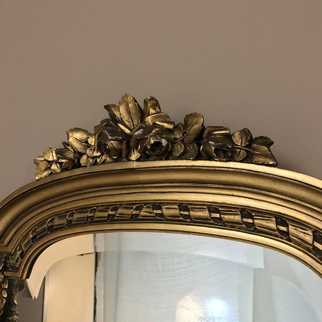 Late 19th Century 19th Century French Louis XVI Marble Top Giltwood Console With Mirror For Sale - Image 5 of 12