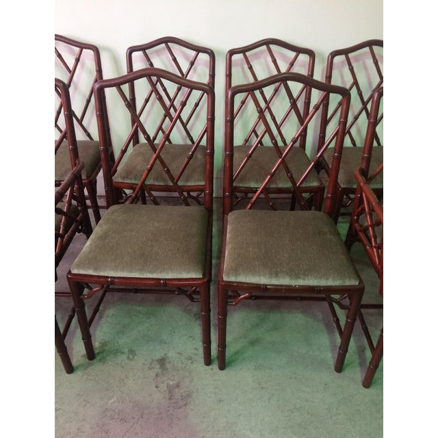 1960s 1960s Vintage Rosewood Chinese Chippendale Style Faux Bamboo Dining Chairs- Set of 8 For Sale - Image 5 of 13