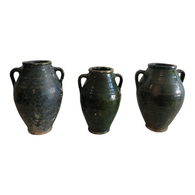 Early 20th Century Vintage Dark Glaze Olive Jars - Set of 3 For Sale