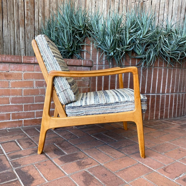 Early France & Son (Denmark) Lounge Chair with vintage Maria Kipp upholstery, 1950s. France & Daverkosen maker's marks.....