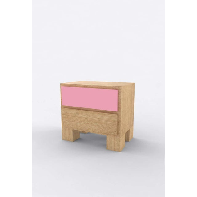 Postmodern Contemporary 101 Bedside in Oak and Pink by Orphan Work, 2020 For Sale - Image 3 of 3