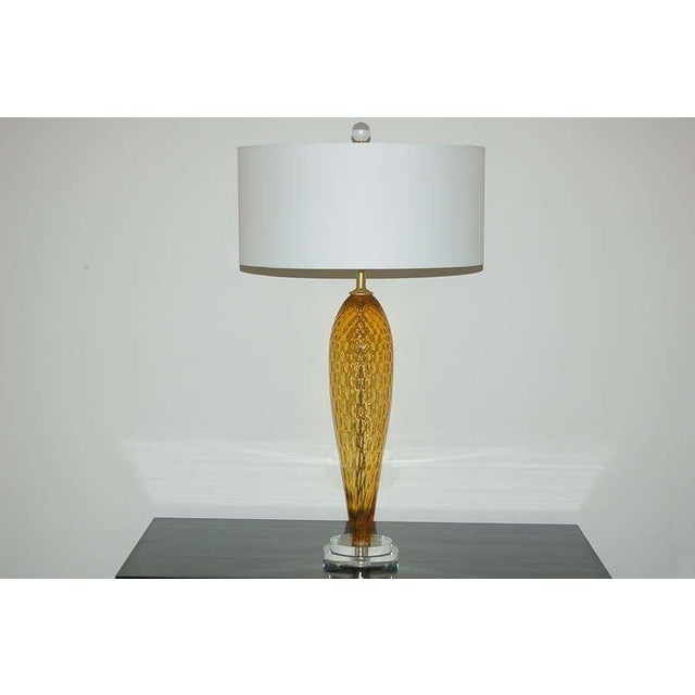 Italian Vintage Italian Glass Table Lamps Butterscotch For Sale - Image 3 of 9