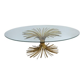 20th Century Hollywood Regency Gilt Metal Wheat Sheaf Glass Top Coffee Table For Sale