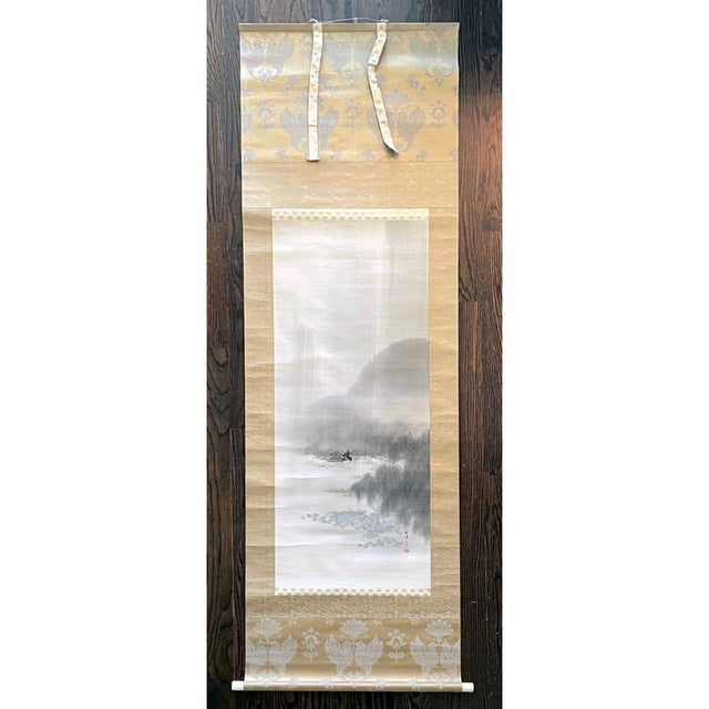 A set of three paintings of ink and watercolor on silk mounted within brocade borders as scrolls by Watanabe Seitei...