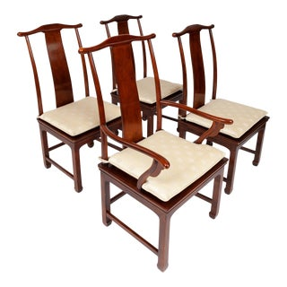 Henredon Ming Style Mahogany & Cane Dining Chairs For Sale