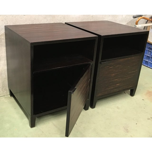 20th Pair of Ebonized Macassar NightStands or Side Tables With One Door For Sale In Miami - Image 6 of 12