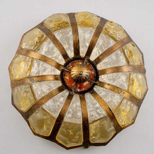 Bronze Italian Mottled Glass and Bronze Round Flush Mount Fixture For Sale - Image 7 of 7