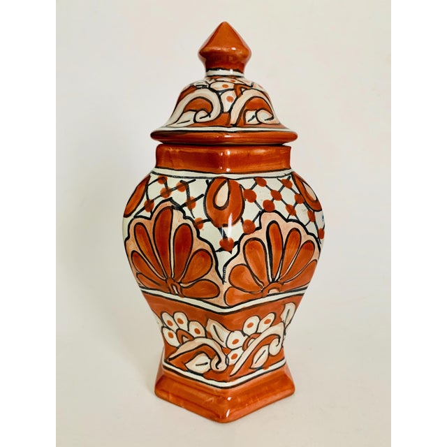 Beautiful hand-painted authentic Mexican Talavera lidded ginger jar. Looks fantastic with the lid removed as a small vase...
