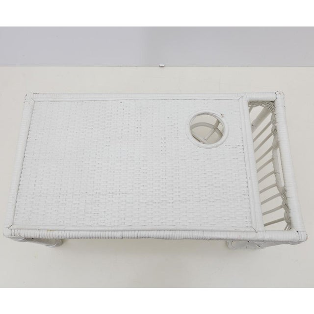 White Wicker Rattan Breakfast in Bed Tray For Sale - Image 4 of 6