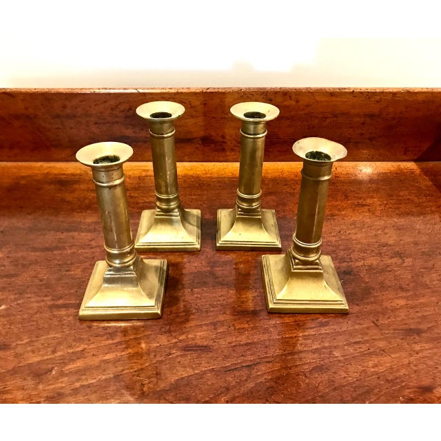 Set of 4 English Brass Neoclassical Candlesticks For Sale In Los Angeles - Image 6 of 7