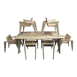 Custom Palomino Solid Ash Dining Set - Set of 7