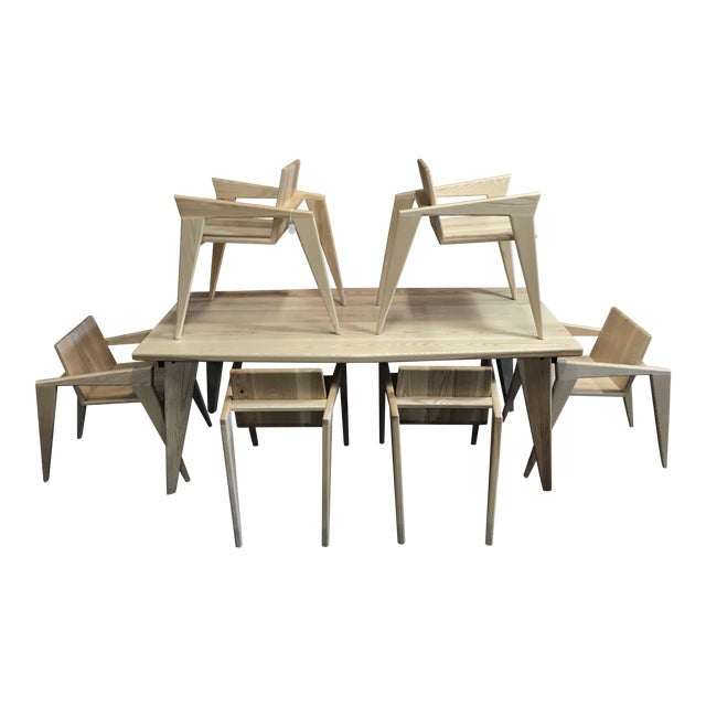 Custom Palomino Solid Ash Dining Set - Set of 7 - Image 1 of 7