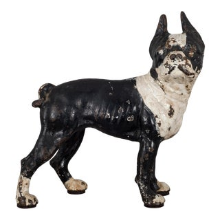 Cast Iron Boston Terrier Doorstop by Hubley C.1910 For Sale