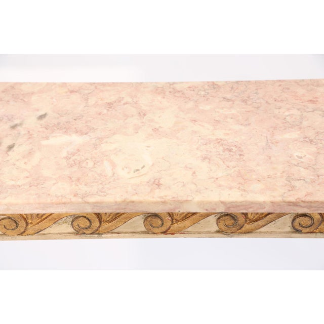 Long and Narrow Italian Parcel-Gilt Marble-Top Console With Scrolling Wave Apron For Sale In West Palm - Image 6 of 8