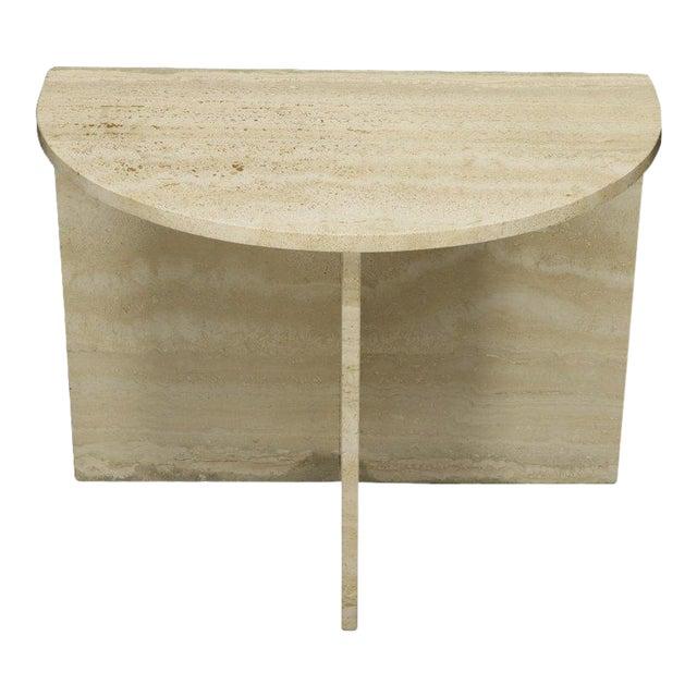 Demilune Travertine Half Round Console Table For Sale
