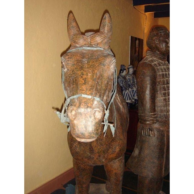Asian Chinese Life-Size Horse and Warrior - 2 Pc. Set For Sale - Image 3 of 8