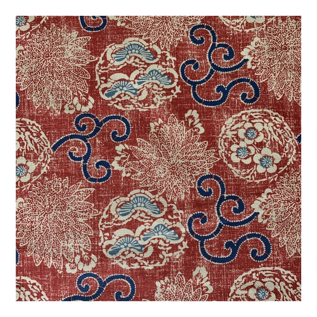 Quadrille Burger Red and Blue Hand Print Faerie Linen Fabric- 7 1/2 Yards For Sale