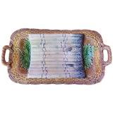Image of 1890s Majolica Salins Attributed Asparagus Server Platter For Sale