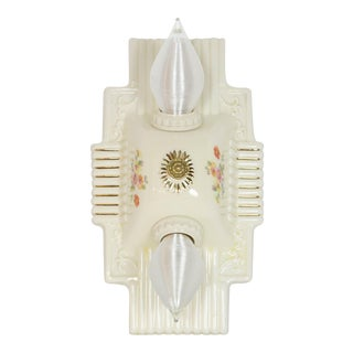 1940s Art Deco Two Light Porcelain Flush Mount Fixture