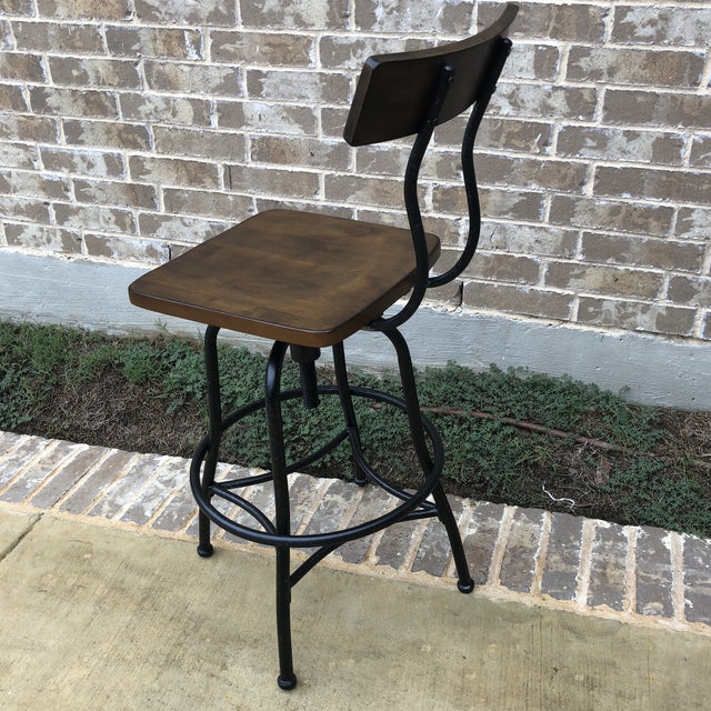 Industrial Wood and Metal Bar Stool For Sale - Image 4 of 5