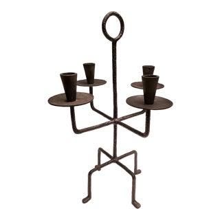 Mid-Century Forged Bronze Scandinavian-Style Candelabrum For Sale