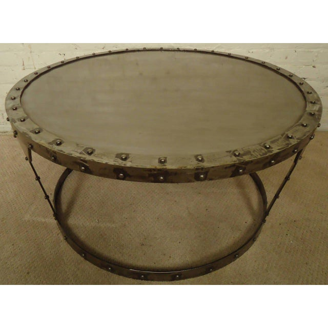 Metal Unique Riveted Industrial Style Coffee Table For Sale - Image 7 of 7