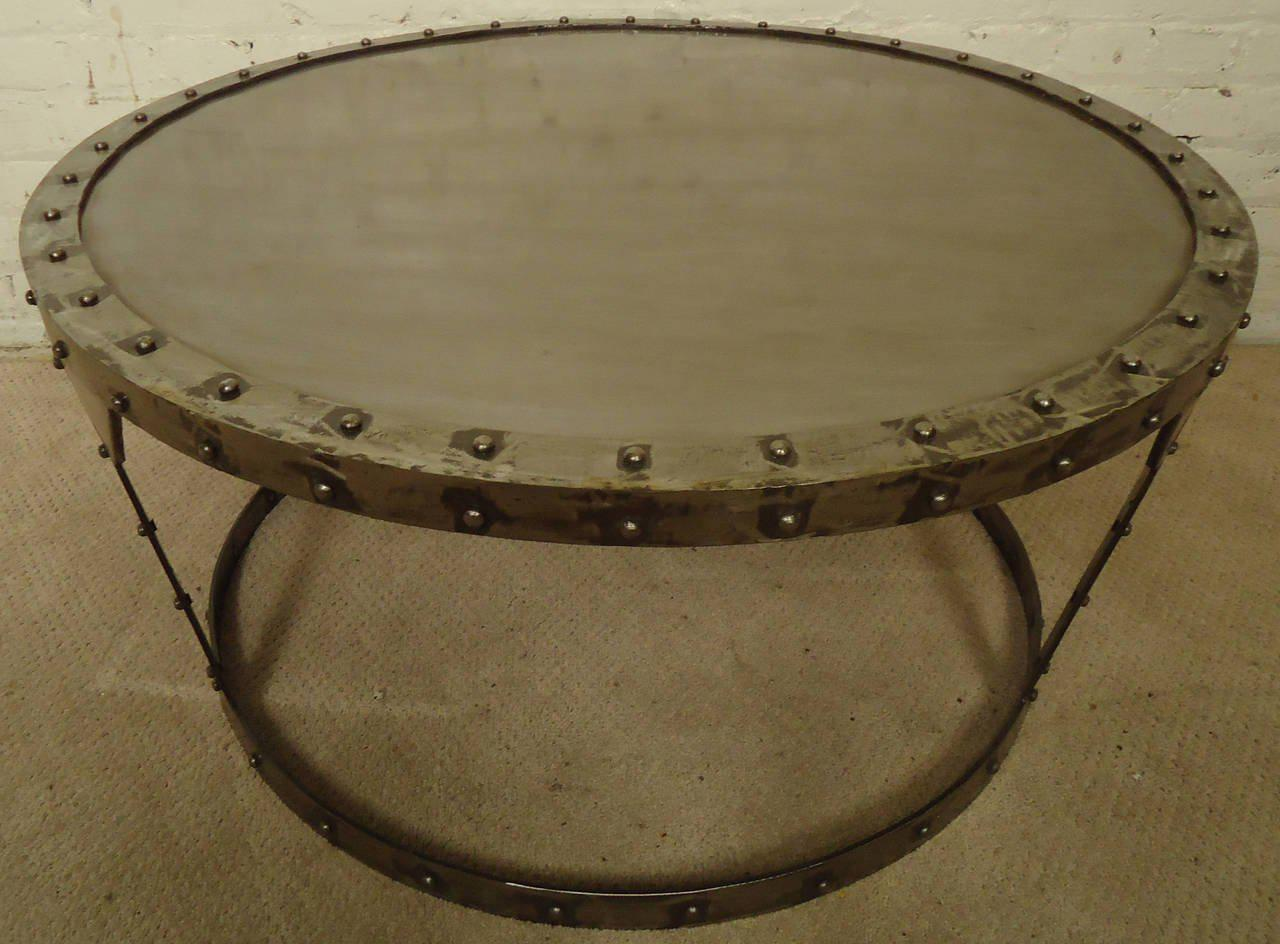 Metal Unique Riveted Industrial Style Coffee Table For Sale   Image 7 Of 7