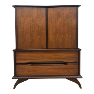 Mid Century Modern Highboy Dresser With Brass Accents For Sale