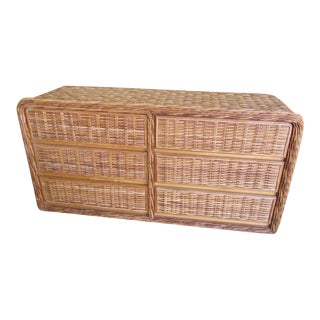 Island Style Woven Rattan Dresser For Sale