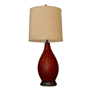 Vintage French Textured Red Ceramic Glazed Lamp For Sale