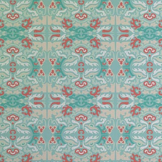 """Foo You Looking At? Coral Reef"" Julianne Taylor Shanghai Collection Wallpaper Remnant For Sale"