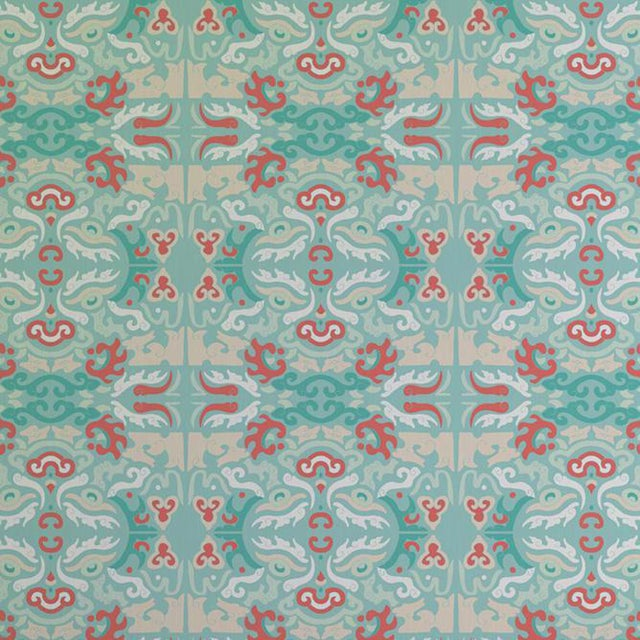 """""""Foo You Looking At? Coral Reef"""" Julianne Taylor Shanghai Collection Wallpaper Remnant For Sale"""