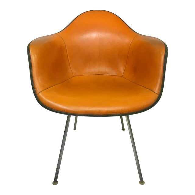 Vintage 'Dax' Armchair in Orange Naugahyde by Charles Eames for Herman Miller For Sale