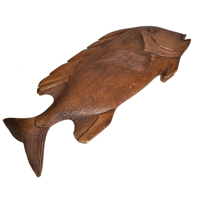 Hand Carved Wood Fish Platter For Sale - Image 4 of 10